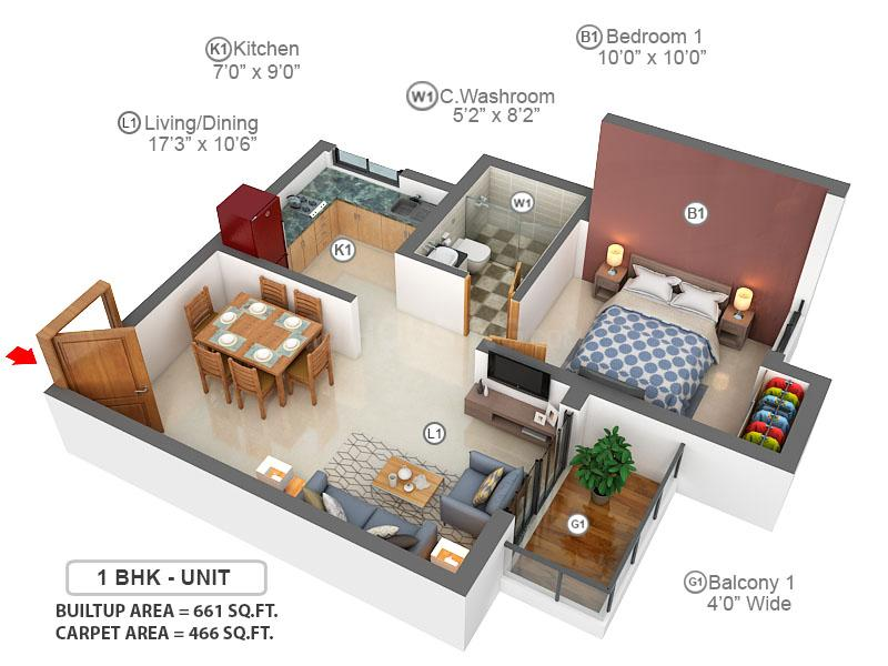 Prestige Willow Tree Floor Plan: 1 BHK Unit with Built up area of 466 sq.ft 1