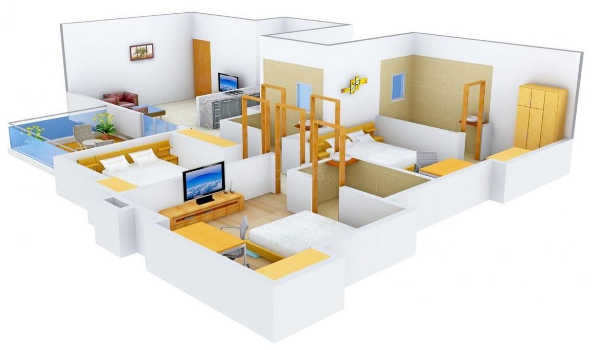 Guardian Kanchan Gauri Floor Plan: 3 BHK Unit with Built up area of 1438 sq.ft 1