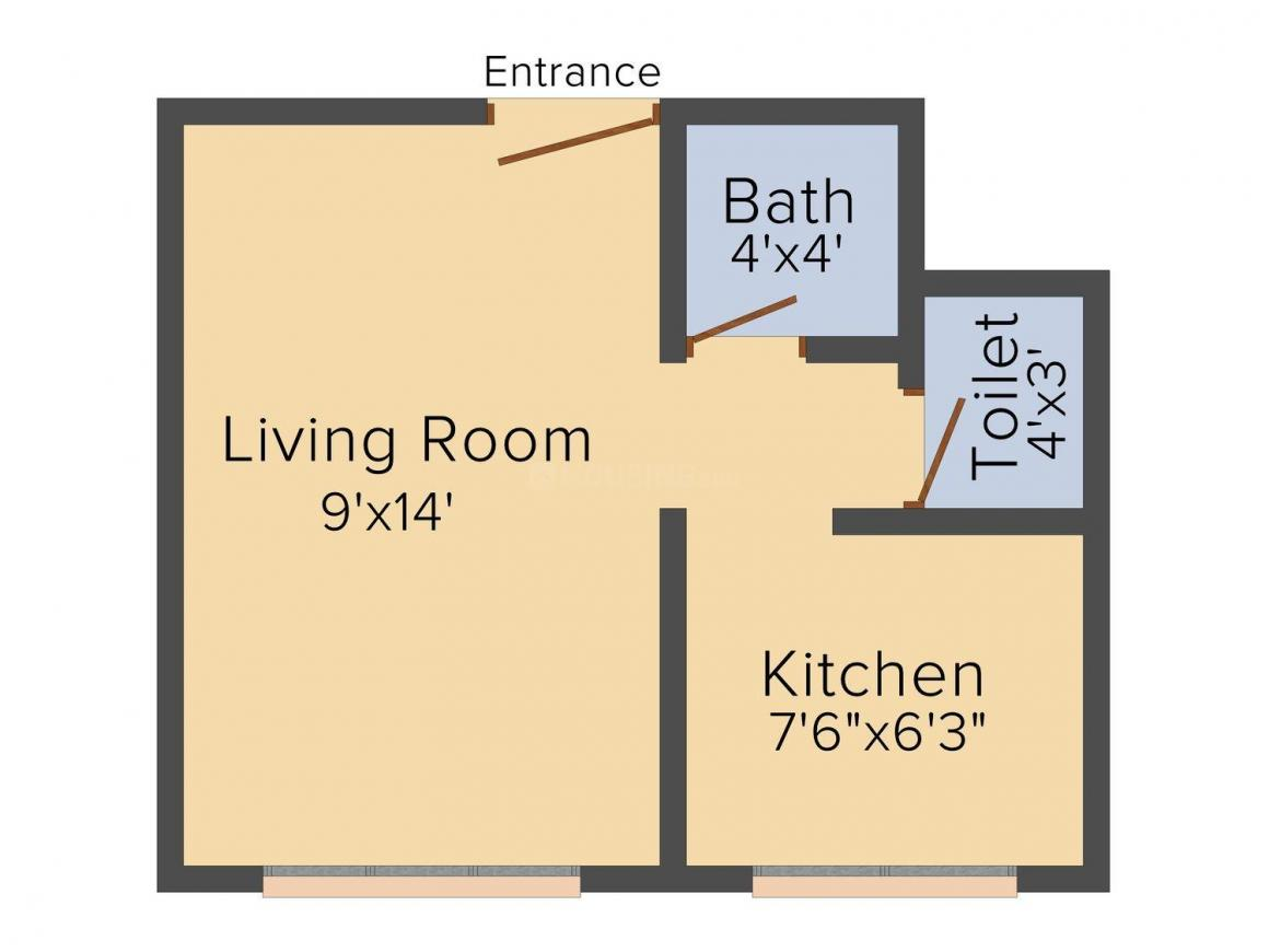 Floor Plan Image of 310 - 670 Sq.ft 1 RK Apartment for buy in Aspire Complex