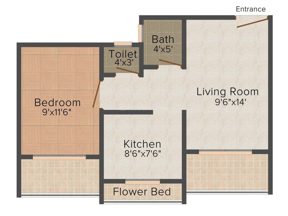 Floor Plan Image of 705.0 - 949.0 Sq.ft 1 BHK Apartment for buy in Sapphire