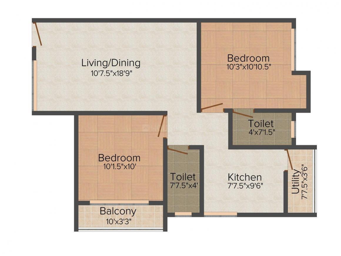 Floor Plan Image of 872.0 - 1169.0 Sq.ft 2 BHK Apartment for buy in Joel Lakeshore