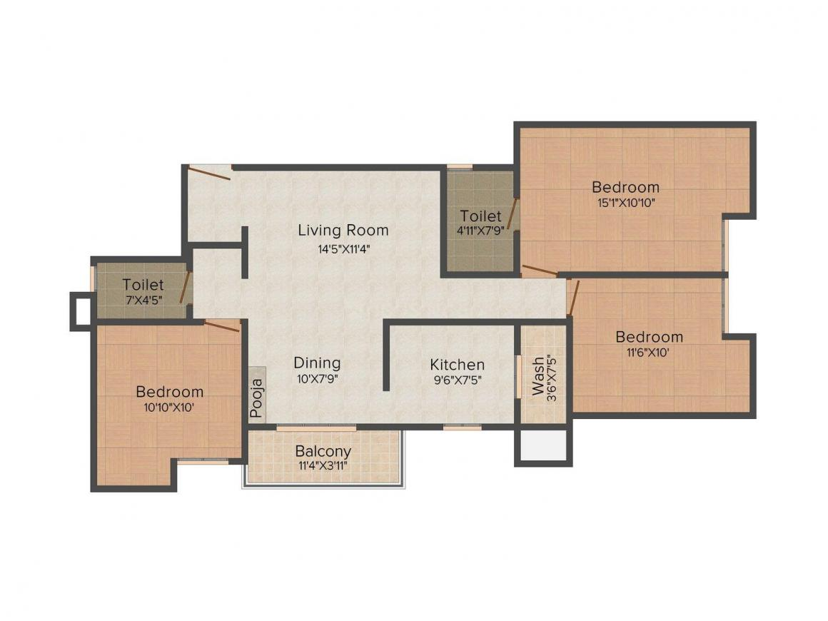 Floor Plan Image of 1135.0 - 1310.0 Sq.ft 2 BHK Apartment for buy in GVSPL Sanmuga