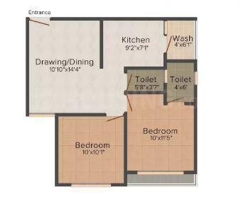 Sanskar Residency Floor Plan: 2 BHK Unit with Built up area of 972 sq.ft 1