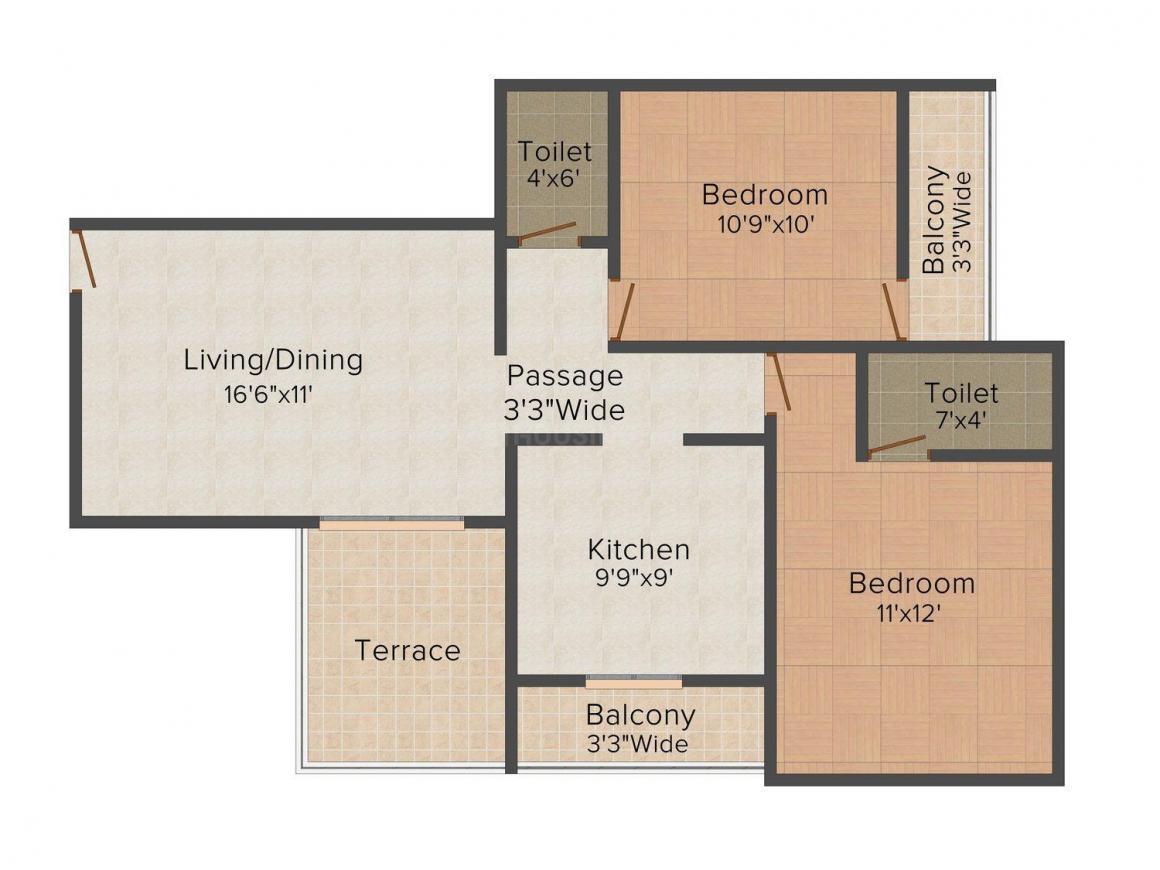 Floor Plan Image of 650.0 - 765.0 Sq.ft 2 BHK Apartment for buy in Nirmiti Heights