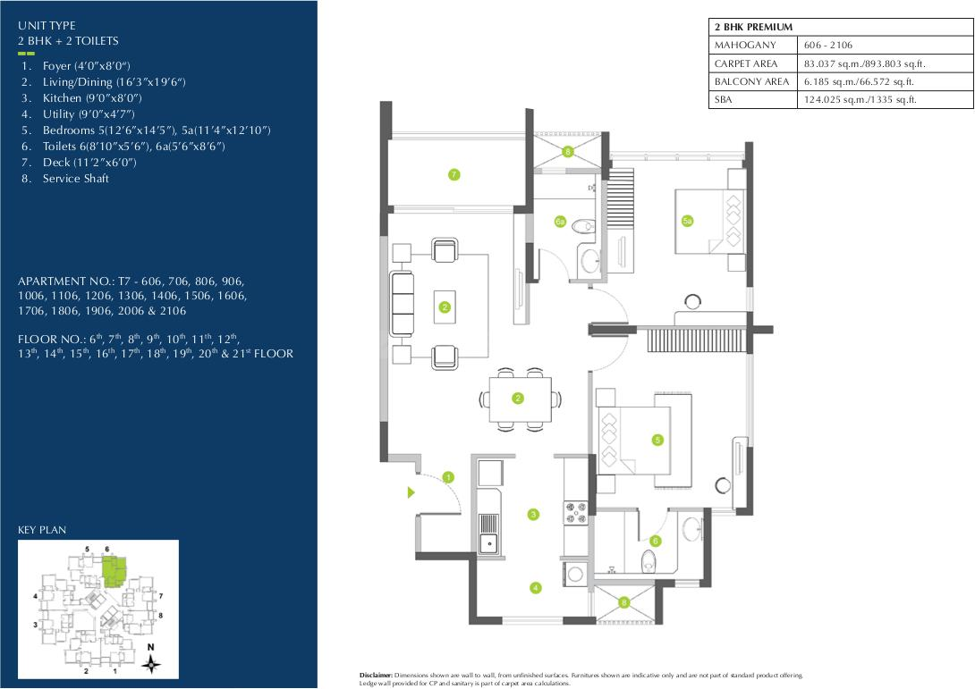 Shapoorji Pallonji Parkwest Phase 2 Floor Plan: 2 BHK Unit with Built up area of 893 sq.ft 1