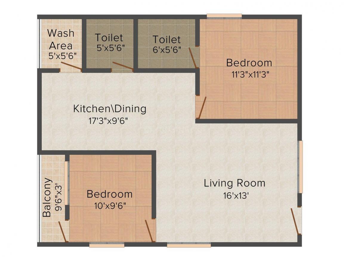 Floor Plan Image of 0 - 985.0 Sq.ft 2 BHK Apartment for buy in Navcar's Tropical Springs