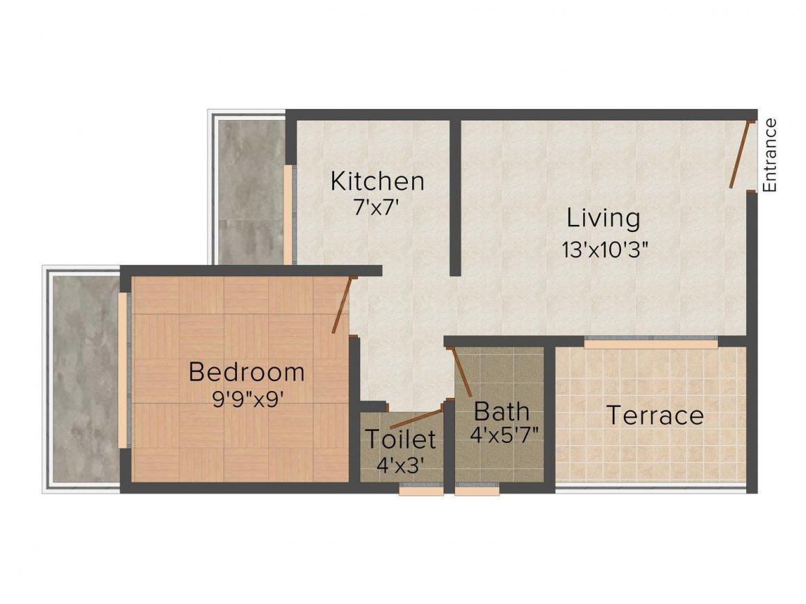 Floor Plan Image of 0 - 630.0 Sq.ft 1 BHK Apartment for buy in Sukhkarta Apartment