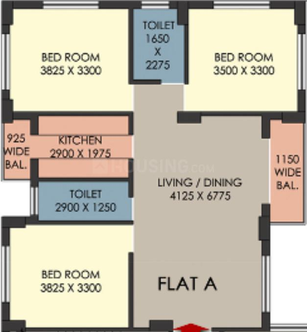 Danish Veeyu Coperative Housing Society Floor Plan: 3 BHK Unit with Built up area of 1655 sq.ft 1