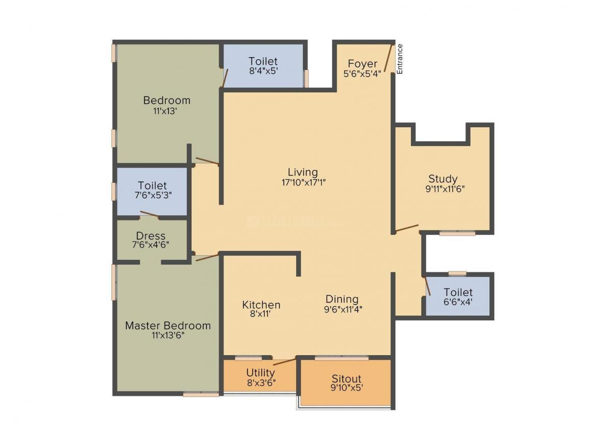 Floor Plan Image of 1290.0 - 1308.0 Sq.ft 2.5 BHK Apartment for buy in Nfs Signature