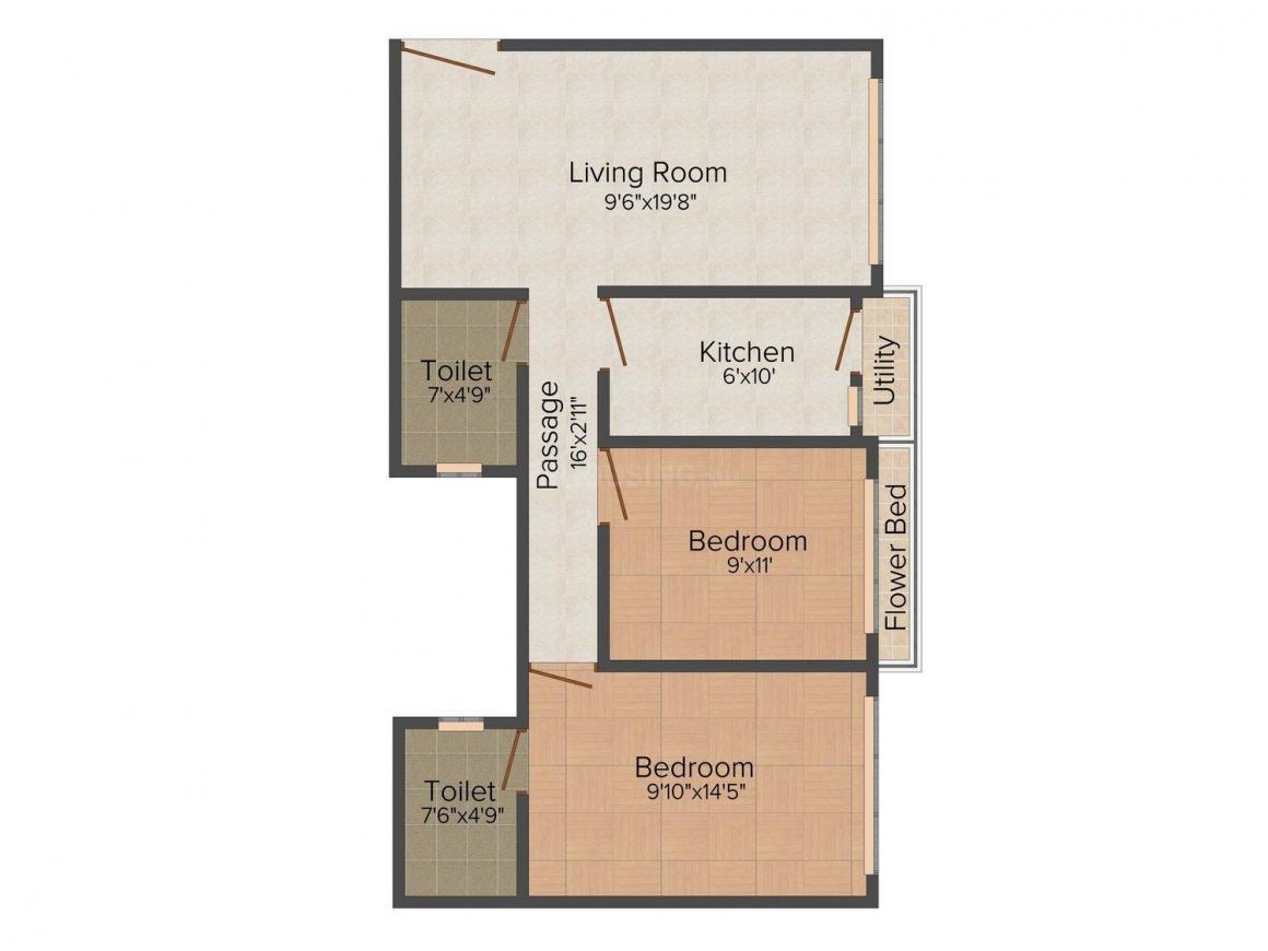 Floor Plan Image of 0 - 648 Sq.ft 2 BHK Apartment for buy in Sai Krishna