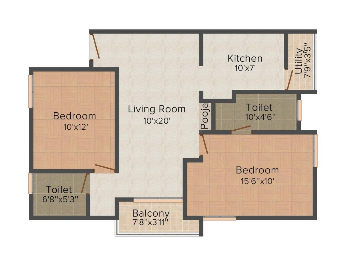 Floor Plan Image of 946 - 967 Sq.ft 2 BHK Apartment for buy in MRM Baba Flats