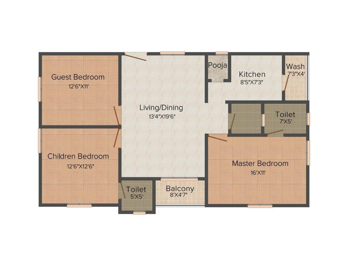 Ace Pride Floor Plan: 3 BHK Unit with Built up area of 1370 sq.ft 1