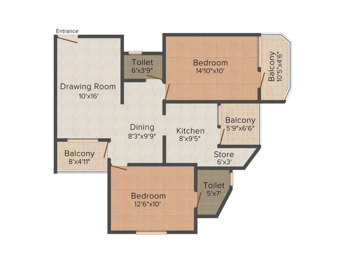 Floor Plan Image of 1143.0 - 1611.0 Sq.ft 2 BHK Apartment for buy in Himalaya Zircon 2
