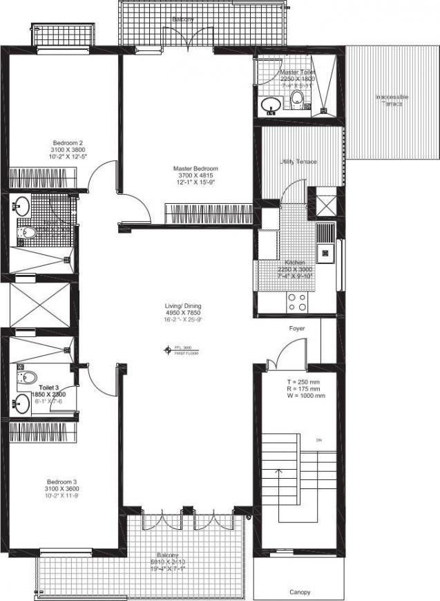 Vatika Independent Floors Floor Plan: 3 BHK Unit with Built up area of 1800 sq.ft 1