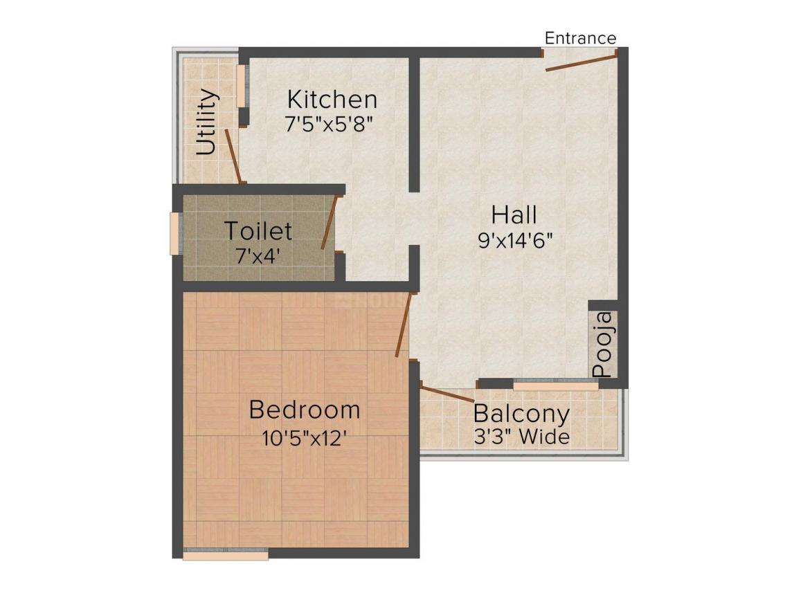 Galaxy Galaxy Intercity Floor Plan: 1 BHK Unit with Built up area of 720 sq.ft 1