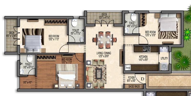 Bluemoon Grandeur Floor Plan: 3 BHK Unit with Built up area of 1117 sq.ft 1