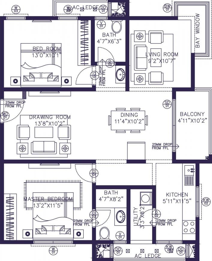 NSL East County Floor Plan: 2 BHK Unit with Built up area of 1324 sq.ft 1