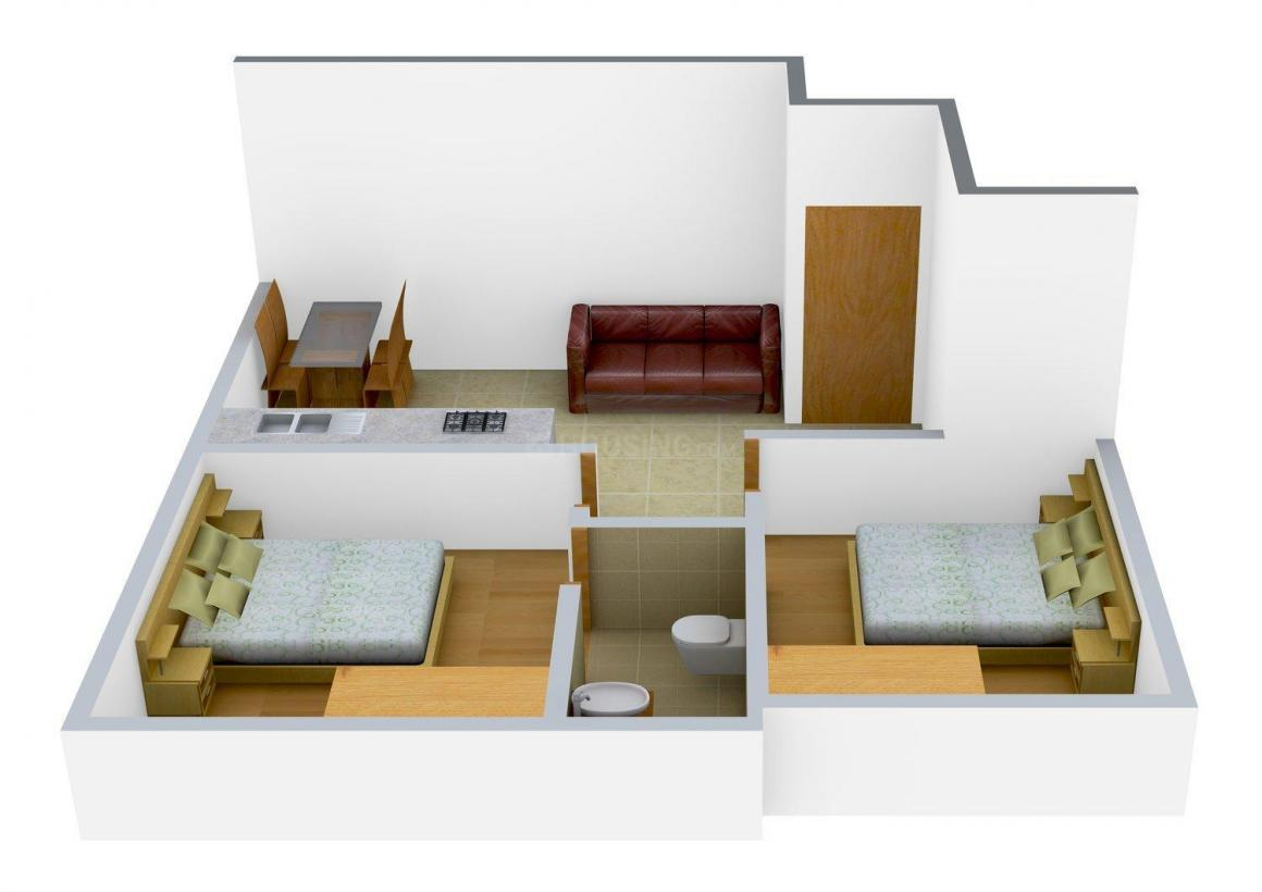 Floor Plan Image of 667 - 1100 Sq.ft 2 BHK Apartment for buy in Pacific Rose