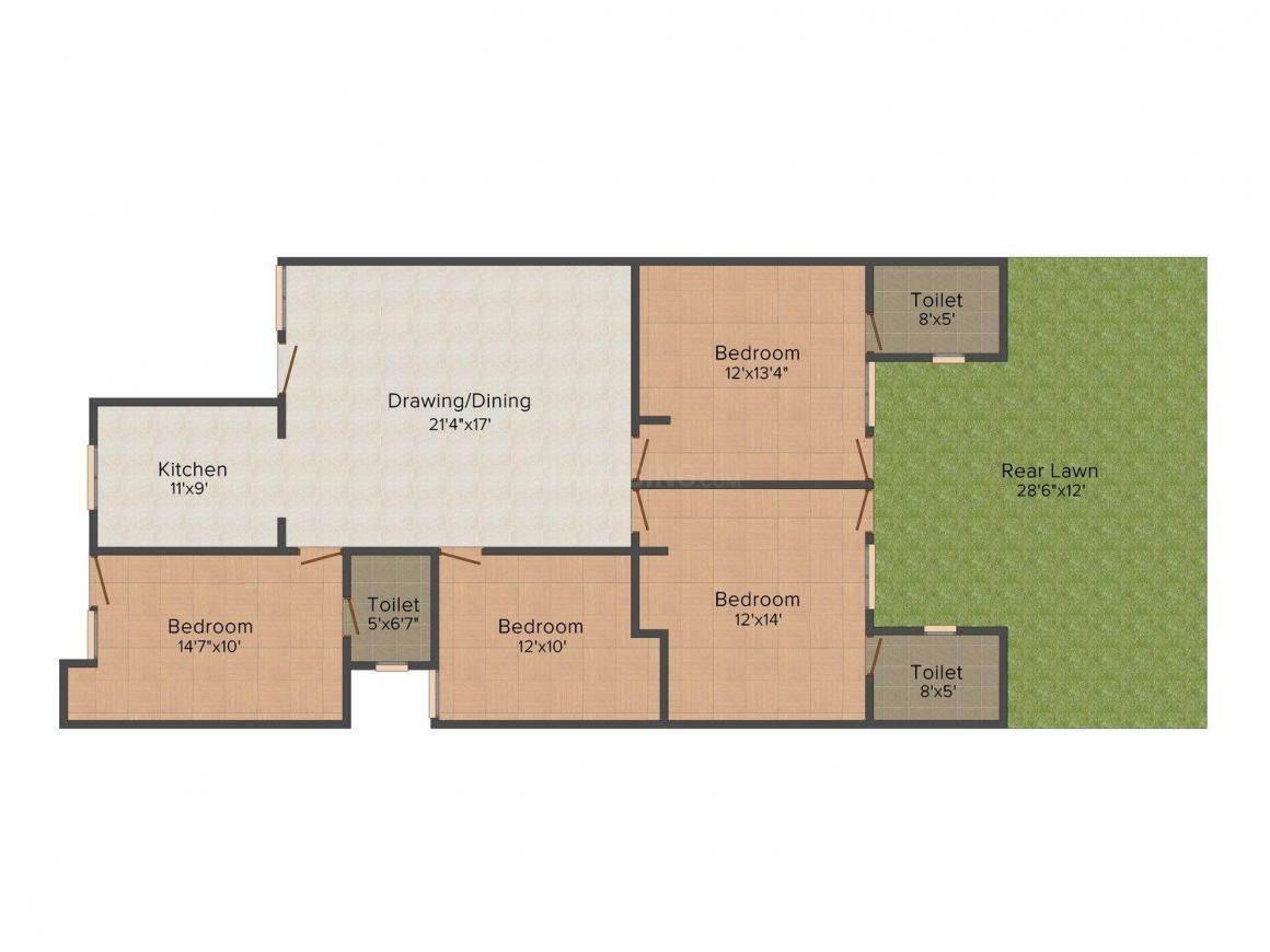 Y. K .Aggarwal Floors A-2327 Floor Plan: 4 BHK Unit with Built up area of 1307 sq.ft 1