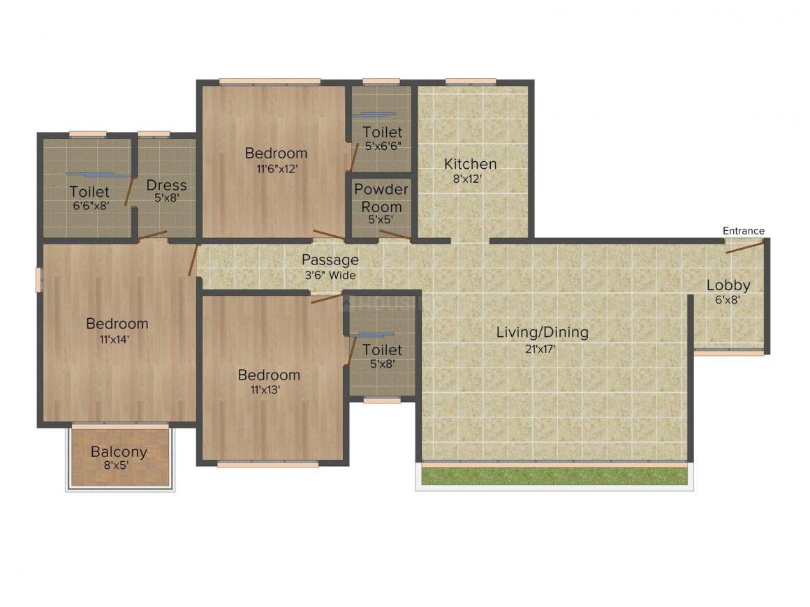 Floor Plan Image of 1245.0 - 1740.0 Sq.ft 2.5 BHK Apartment for buy in Sheth Polaris