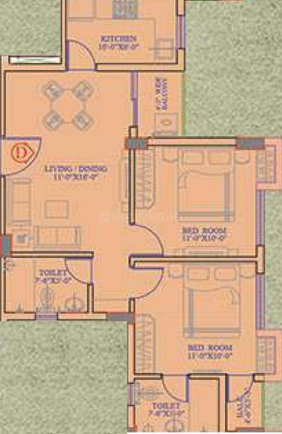The Sky Garden Floor Plan: 2 BHK Unit with Built up area of 870 sq.ft 1