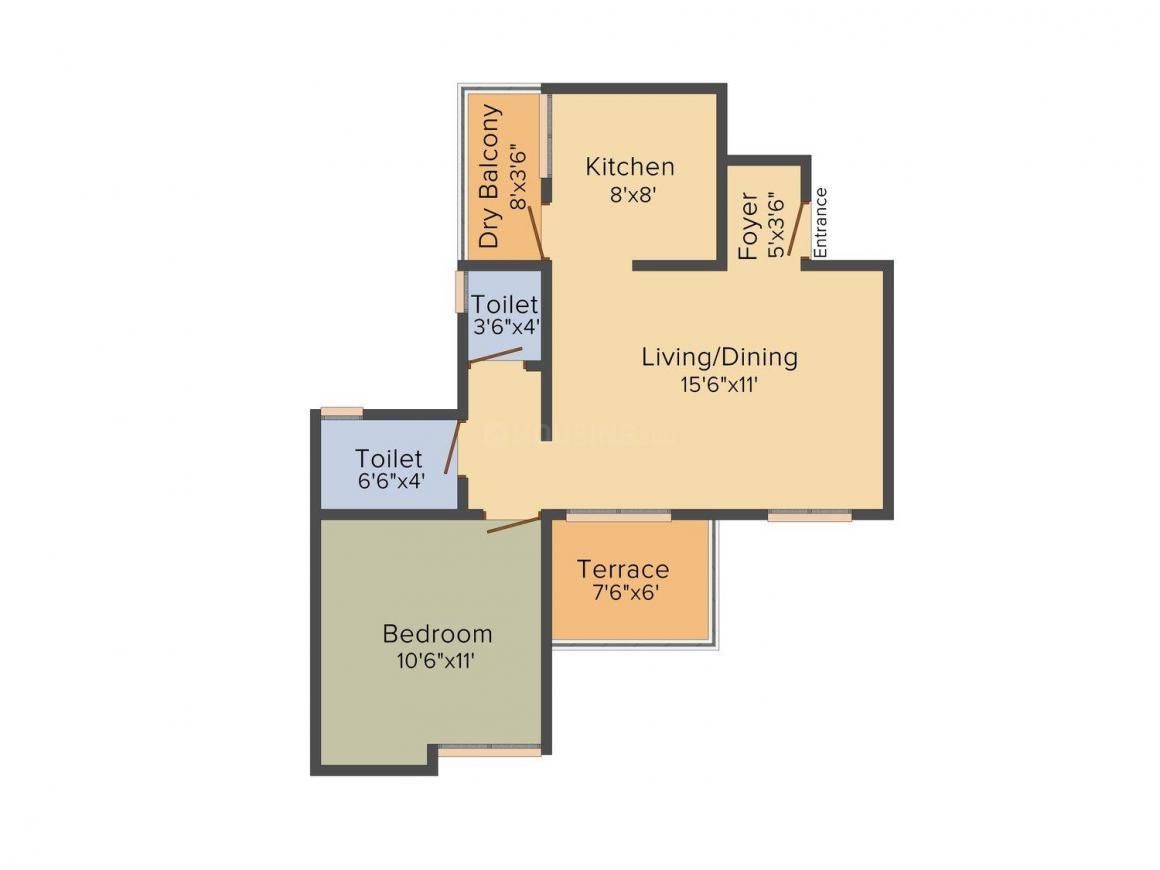 Silveroak Sonchafa Floor Plan: 1 BHK Unit with Built up area of 676 sq.ft 1