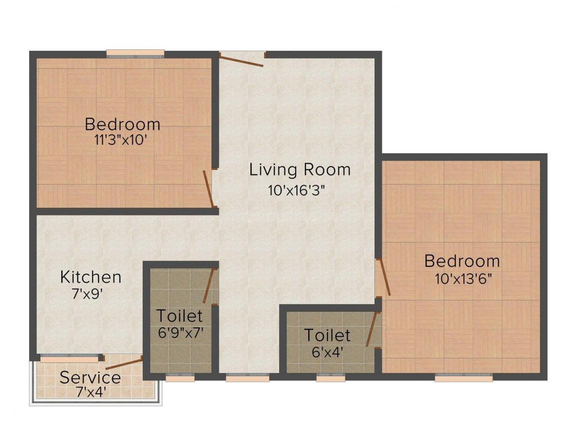 Floor Plan Image of 645.0 - 749.0 Sq.ft 2 BHK Apartment for buy in Rohaan Oasis II