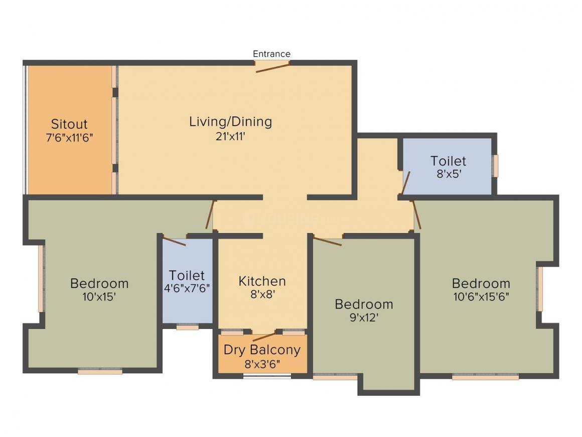 Floor Plan Image of 0 - 1369 Sq.ft 2 BHK Apartment for buy in Ambike Lotus Apartments