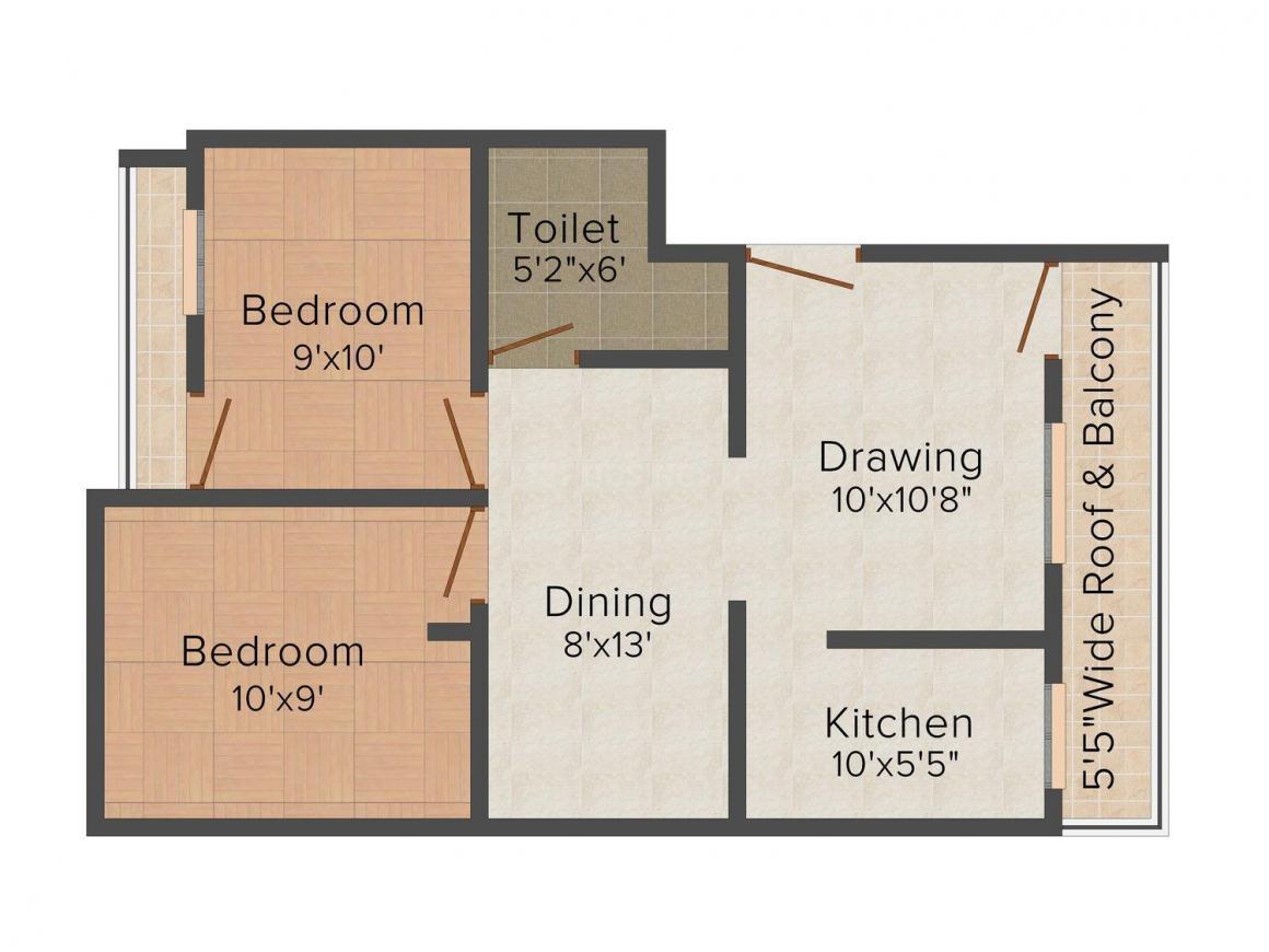 Floor Plan Image of 0 - 770.0 Sq.ft 2 BHK Apartment for buy in Ashoka Priyansh Anmol Residency