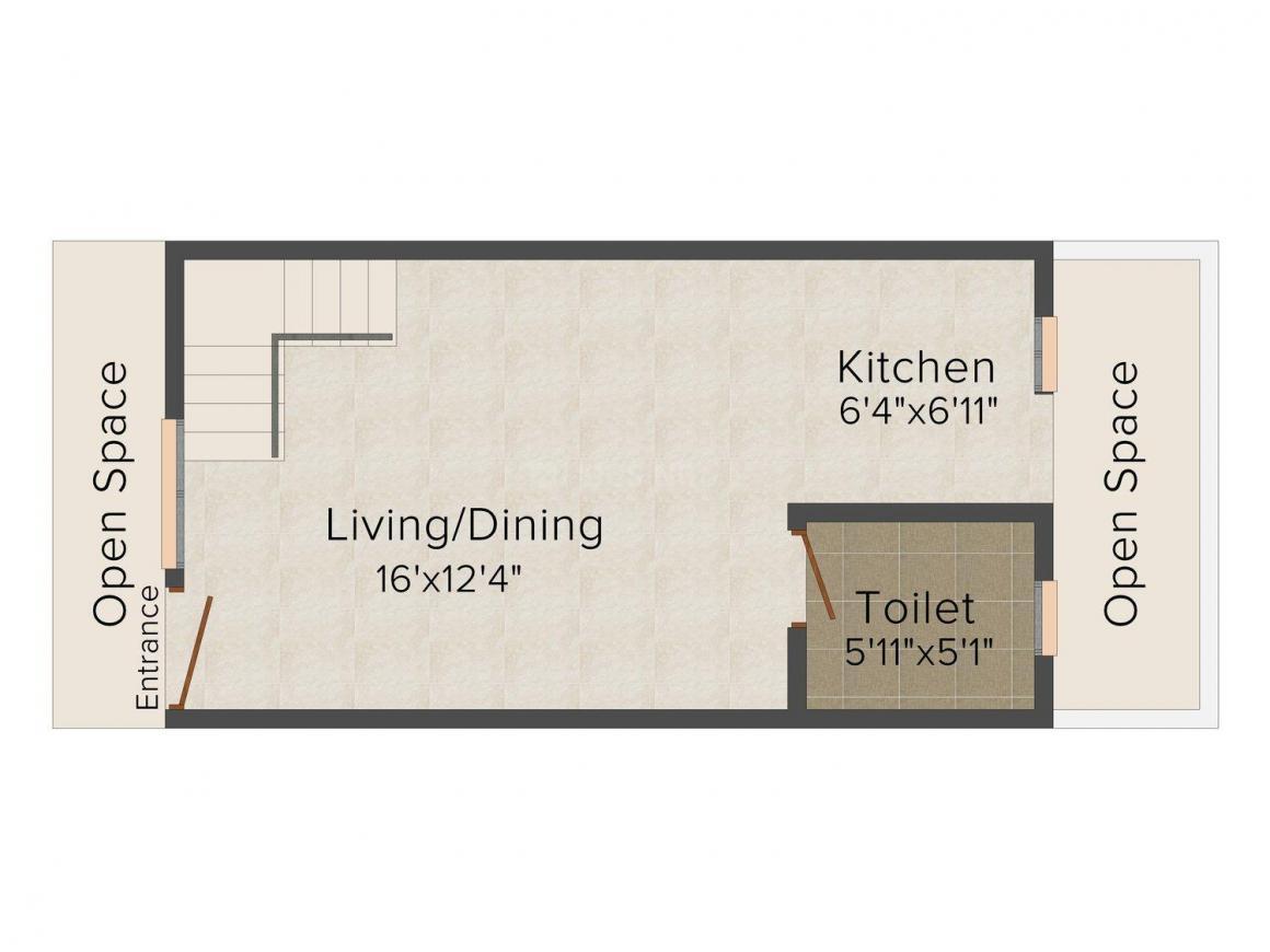 Floor Plan Image of 0 - 715.0 Sq.ft 2 BHK Villa for buy in Apex Grihan Villas