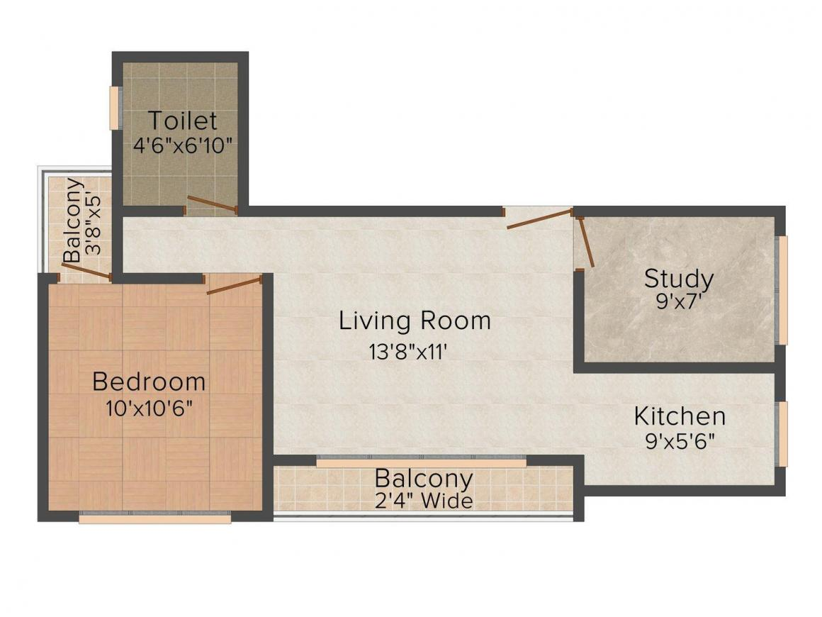 Floor Plan Image of 721.0 - 830.0 Sq.ft 1.5 BHK Apartment for buy in Krishna Sagar