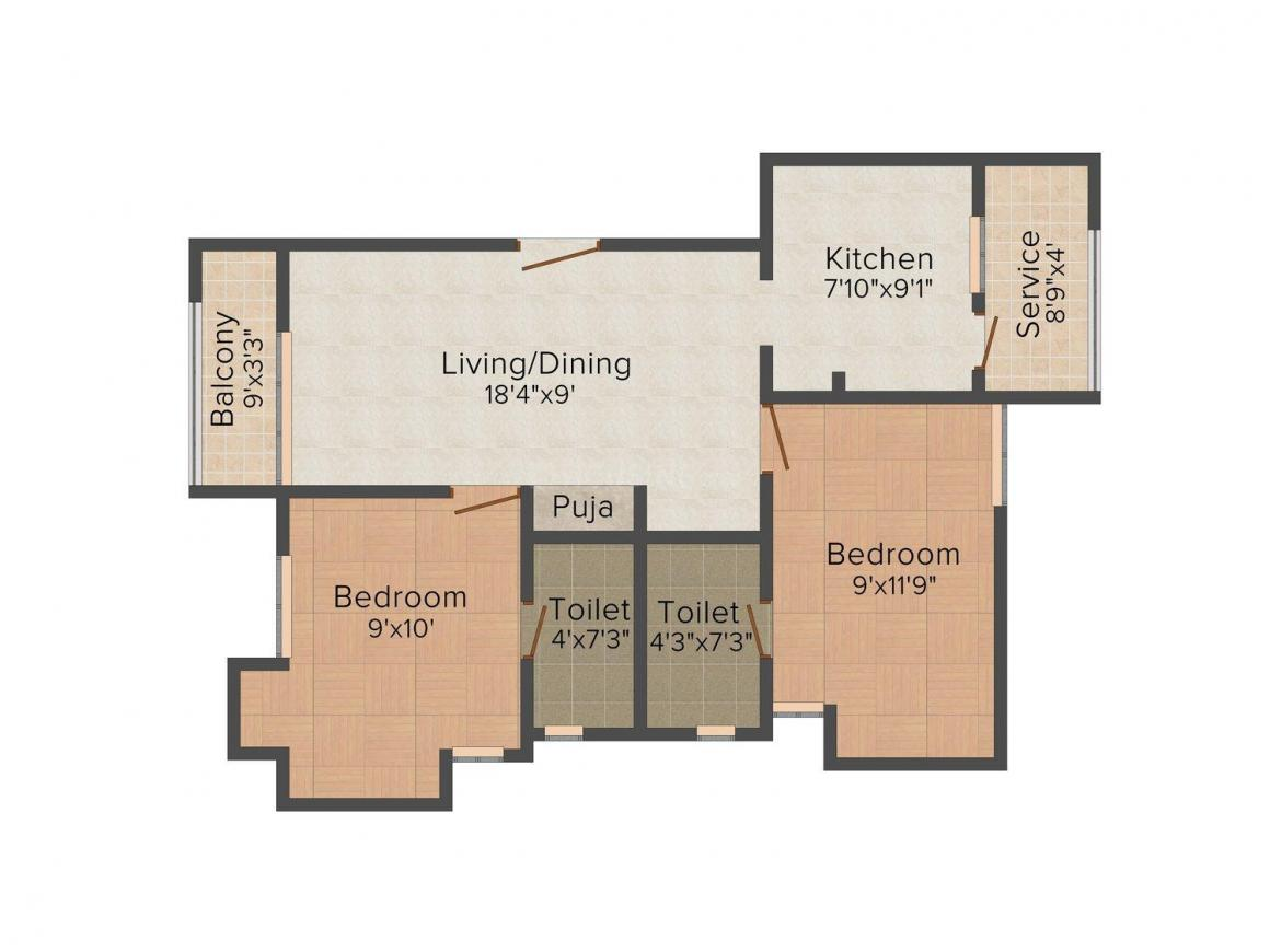 Floor Plan Image of 954.0 - 1556.0 Sq.ft 2 BHK Apartment for buy in Newry Mayfair