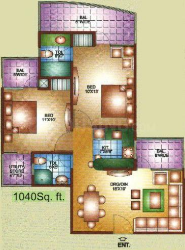 K M Residency Floor Plan: 2 BHK Unit with Built up area of 1040 sq.ft 1