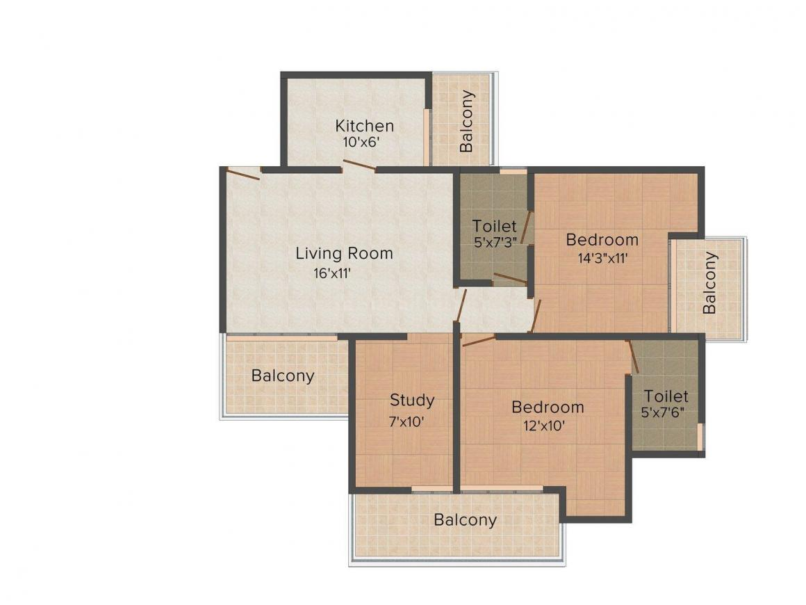 REDUNDANT_Misty Heights in Sports City Floor Plan: 2 BHK Unit with Built up area of 1199 sq.ft 1