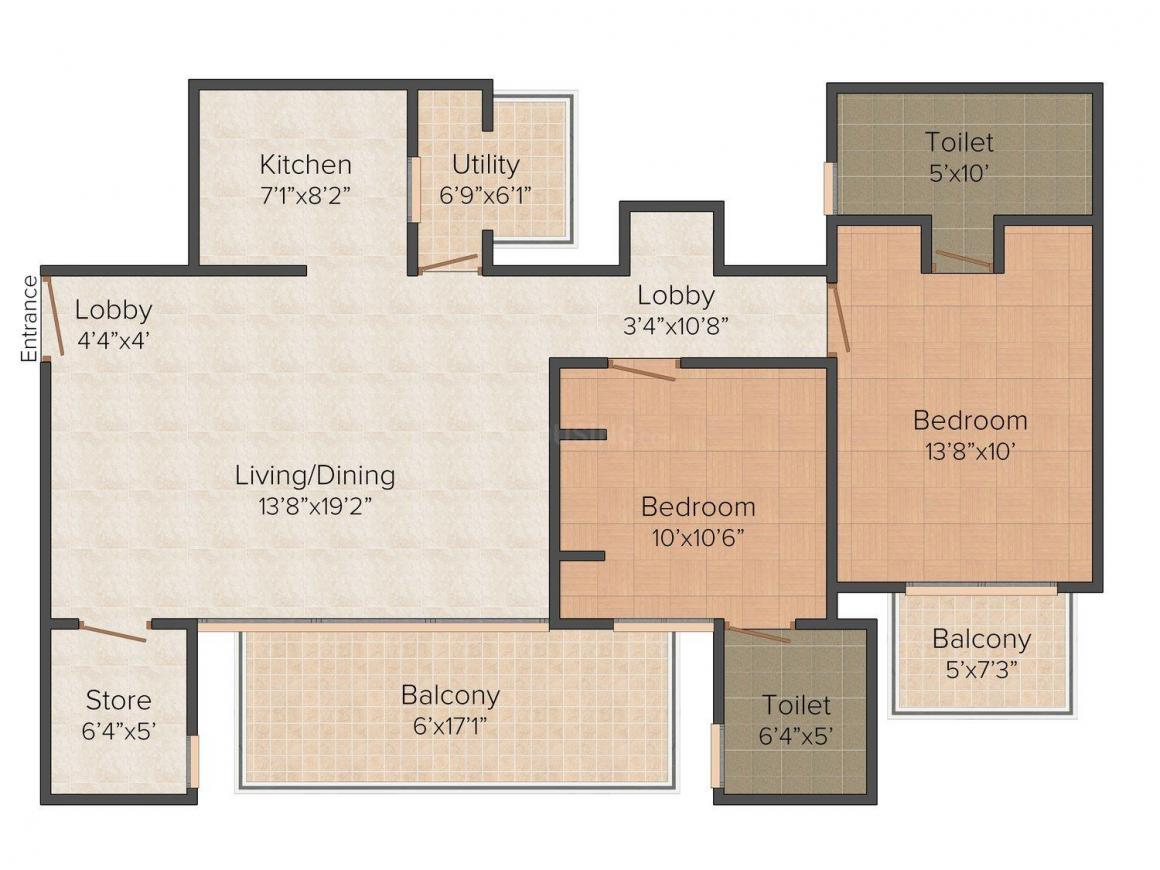 7 Acres Homes-1 Floor Plan: 2 BHK Unit with Built up area of 1200 sq.ft 1