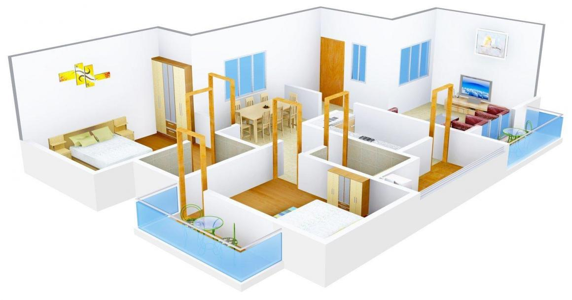 Floor Plan Image of 869 - 1186 Sq.ft 2 BHK Apartment for buy in Manasa Palm Spring