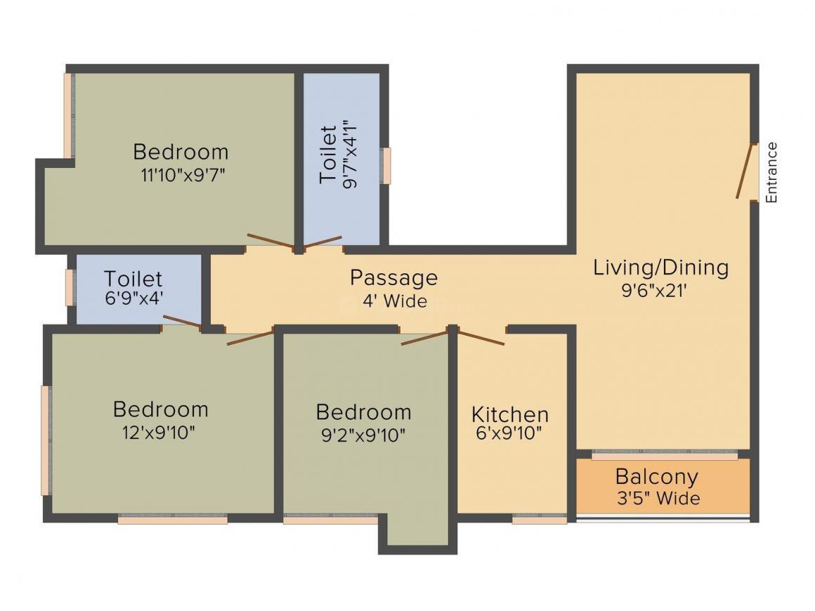 Aspirations Azalea Floor Plan: 3 BHK Unit with Built up area of 1190 sq.ft 1