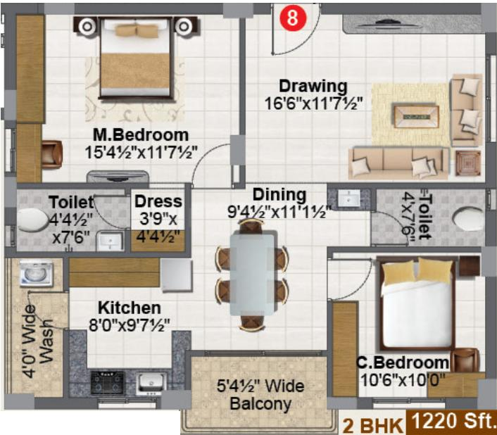 RR Tropicana Floor Plan: 2 BHK Unit with Built up area of 1220 sq.ft 1