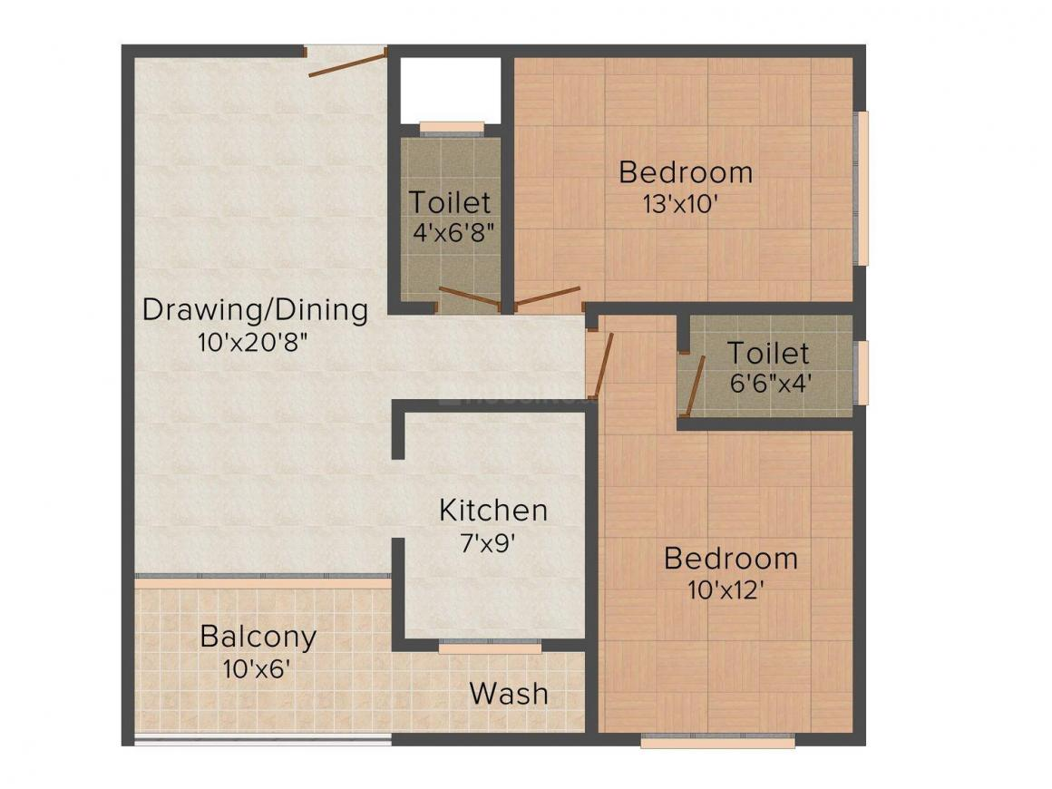 Shri Ram Sky Heights Floor Plan: 2 BHK Unit with Built up area of 1079 sq.ft 1
