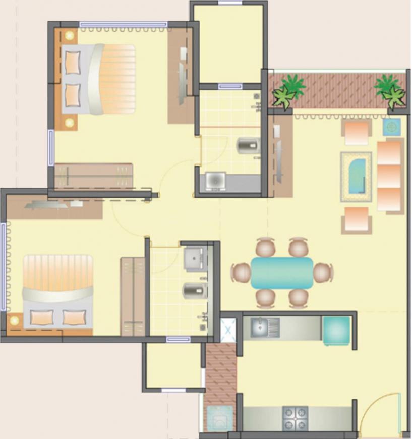 Ekta Tripolis Floor Plan: 2 BHK Unit with Built up area of 760 sq.ft 1