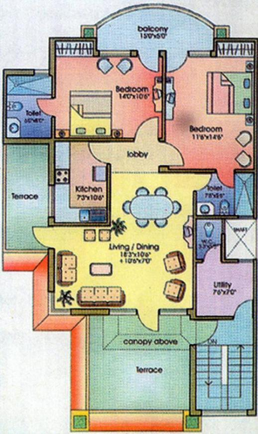 Ansal Executive Residency Floor Plan: 2 BHK Unit with Built up area of 1075 sq.ft 1