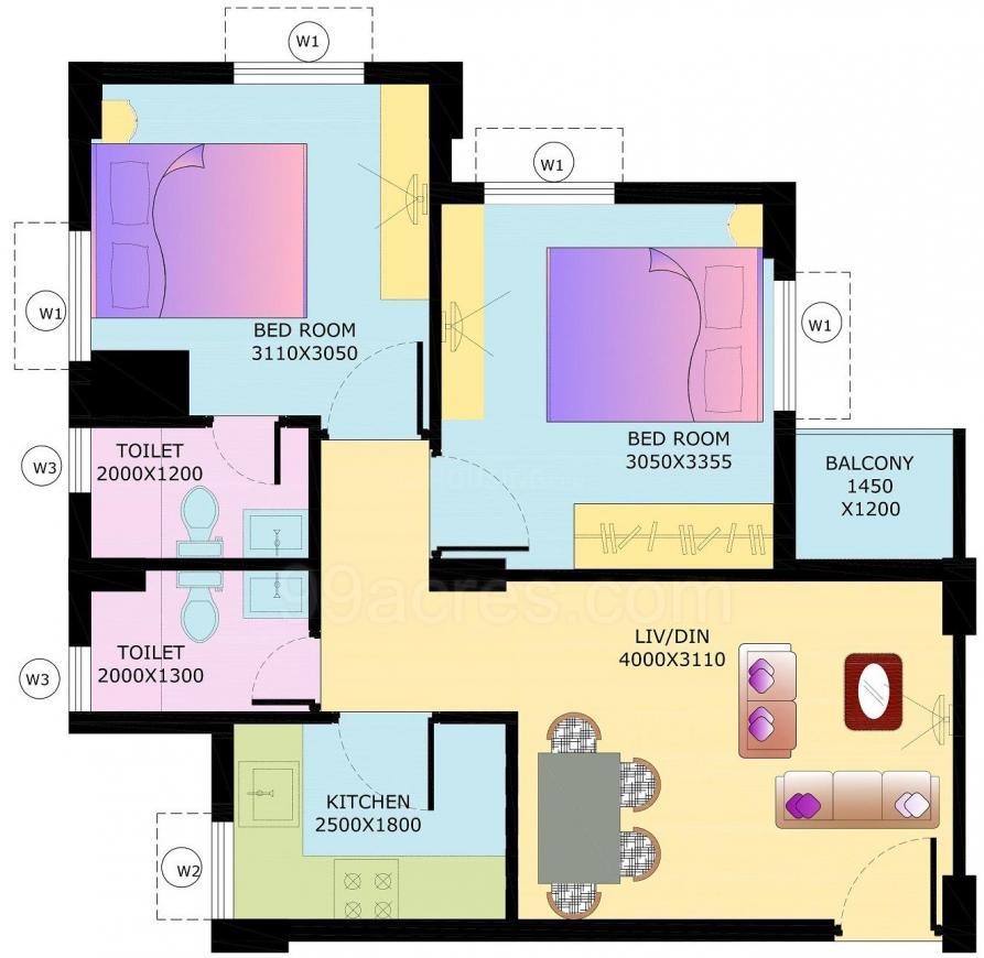 Eden City Maheshtala Floor Plan: 2 BHK Unit with Built up area of 508 sq.ft 1