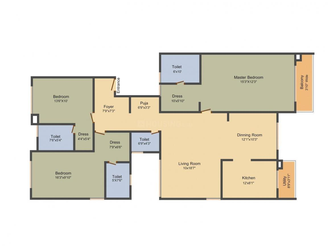 Floor Plan Image of 1850.0 - 3735.0 Sq.ft 3 BHK Apartment for buy in Unitech Uniworld Resorts