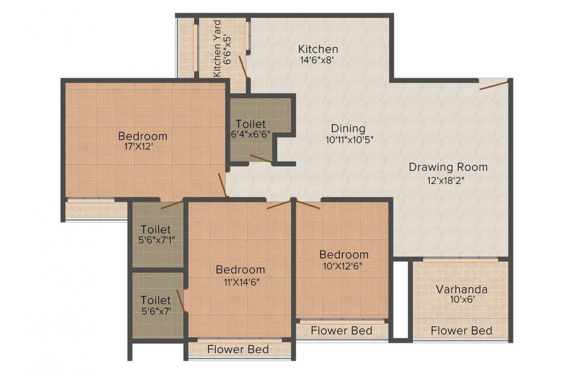 Goyal and Co. Orchid Harmony  Floor Plan: 3 BHK Unit with Built up area of 1219 sq.ft 1