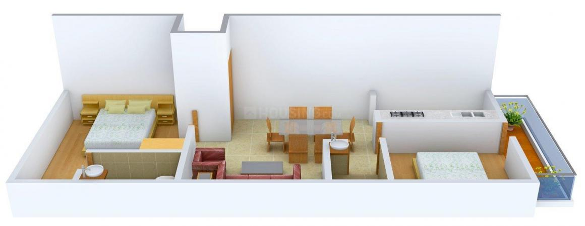 Floor Plan Image of 755 - 808 Sq.ft 2 BHK Apartment for buy in  Silver Bloom