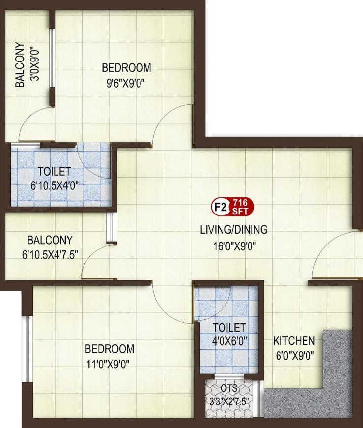 Asset ATH Aspire Floor Plan: 2 BHK Unit with Built up area of 716 sq.ft 1