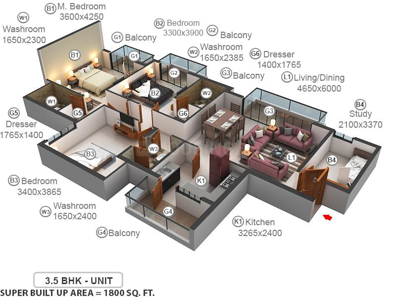 ATS Rhapsody Floor Plan: 3 BHK Unit with Built up area of 1800 sq.ft 1