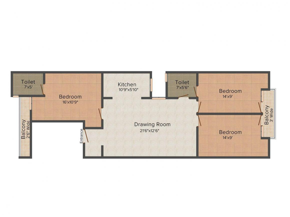 Floor Plan Image of 0 - 900 Sq.ft 3 BHK Independent Floor for buy in RBD Homes - 4