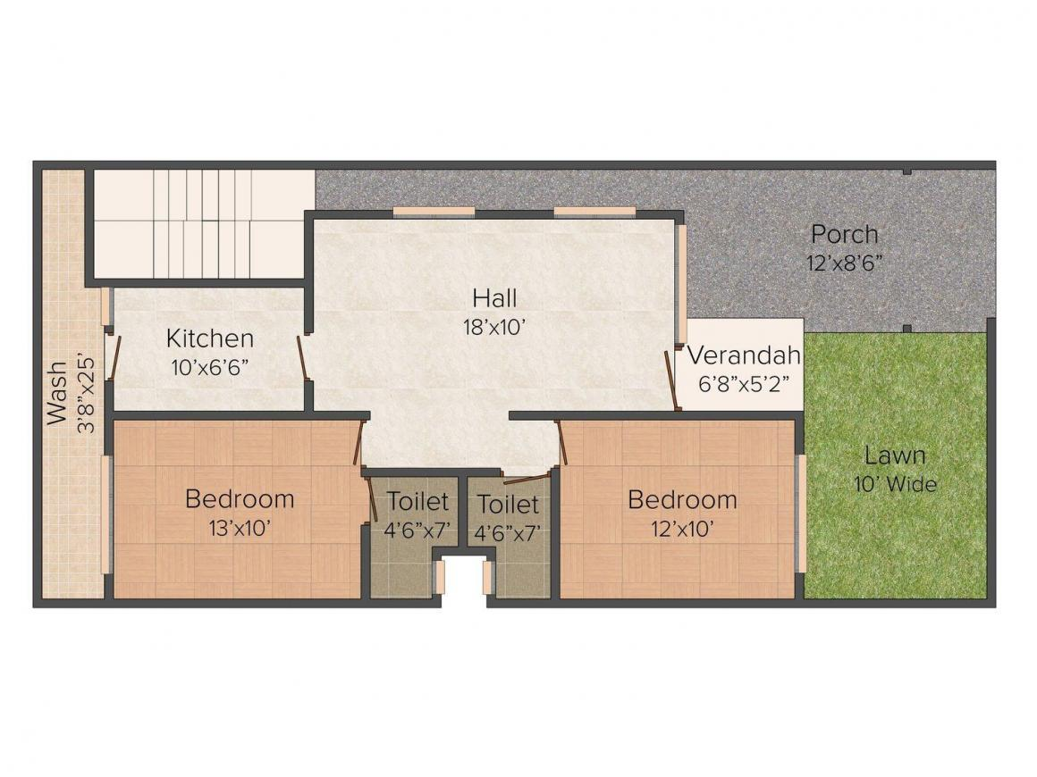 Floor Plan Image of 832 - 1345 Sq.ft 2 BHK Row House for buy in Balaji Green City