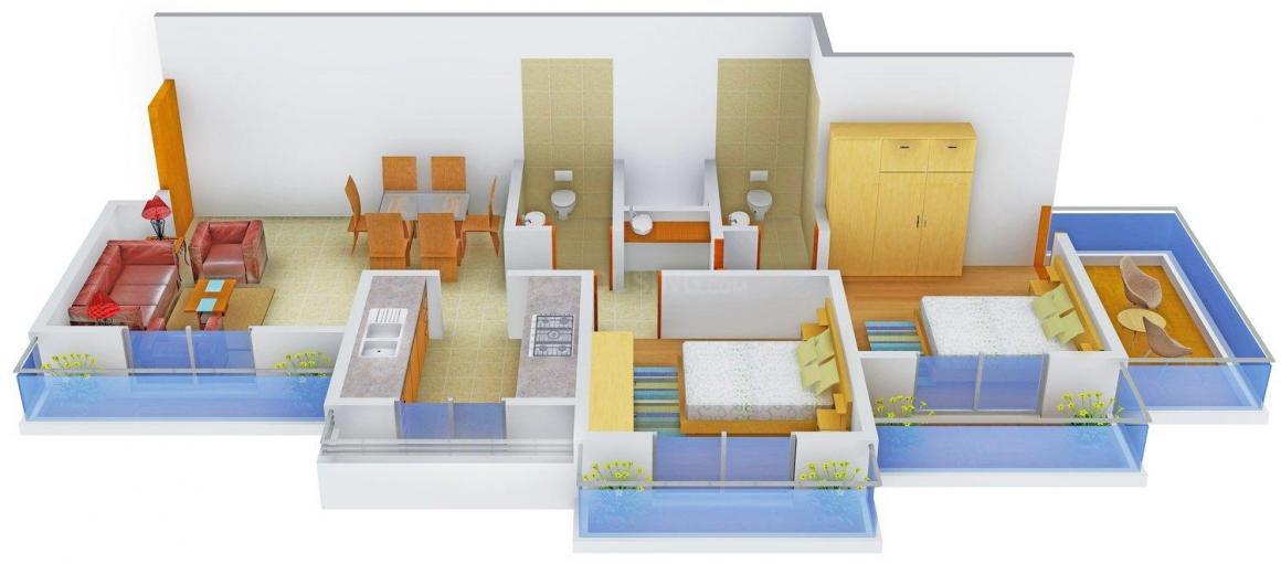 Floor Plan Image of 1255 - 1655 Sq.ft 2 BHK Apartment for buy in Mega Aatmaram Kene Residency
